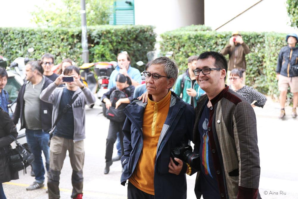 Takashi Miike, one of the regulars, & Àngel Sala (director of the Sitges Film festival)